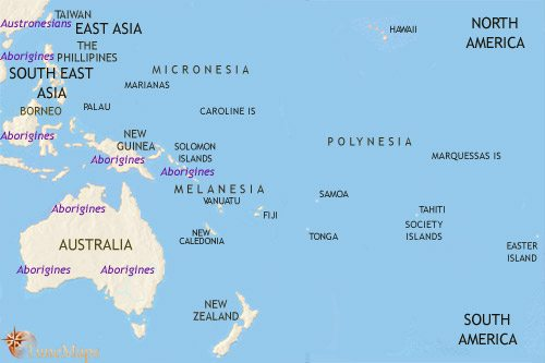 Map of Oceania at 3500BCE