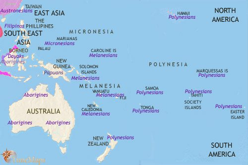 Map of Oceania at 1215CE