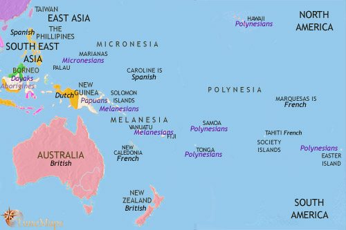 Map of Oceania at 1871CE
