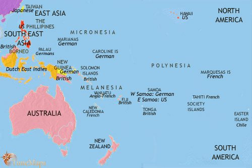 Map of Oceania at 1914CE