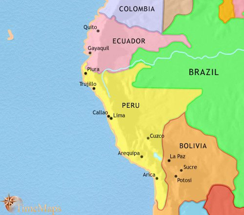 Map of Peru, Ecuador and Bolivia at 1871AD
