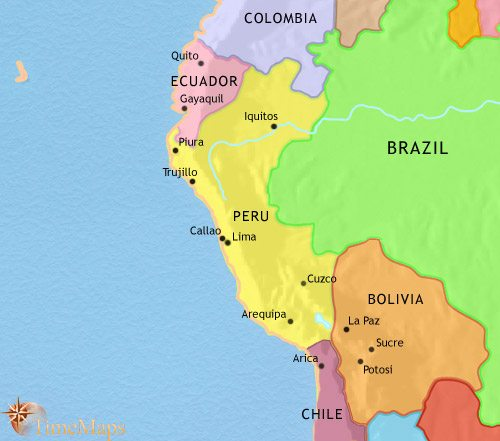 Map of Peru, Ecuador and Bolivia at 1960AD