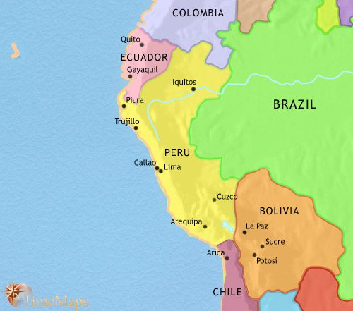 Map of Peru, Ecuador and Bolivia at 2005AD