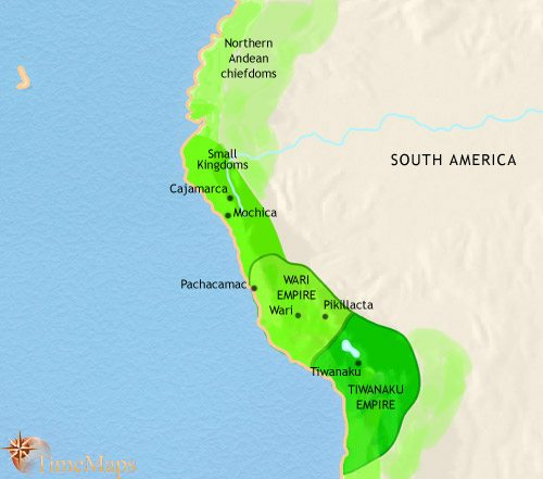 Map of Peru, Ecuador and Bolivia at 750AD