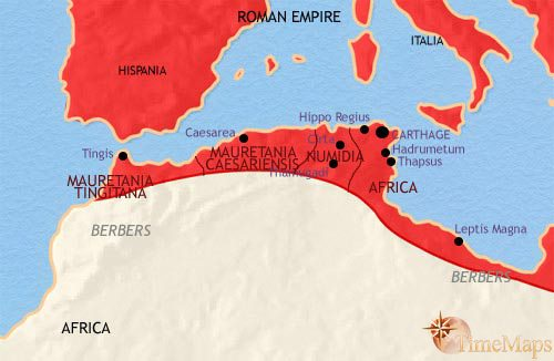 Map of North Africa at 200AD