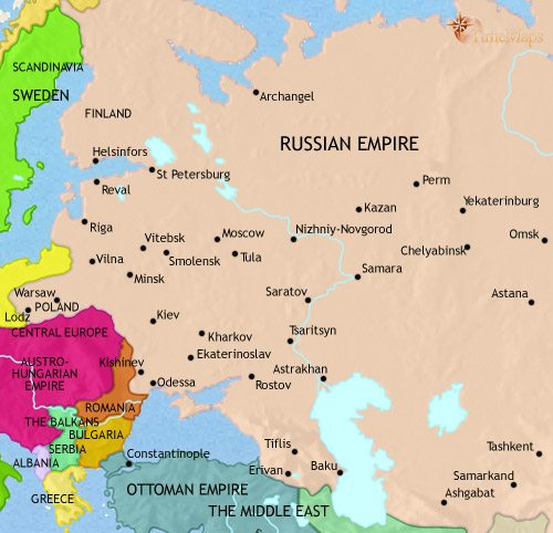 Map of Russia at 1914CE