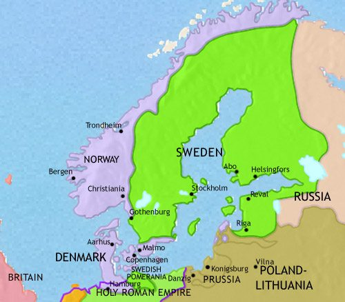 Map of Scandinavia at 1648CE