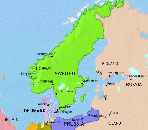 Map of Scandinavia at 1837CE