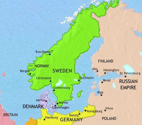 Map of Scandinavia at 1871CE