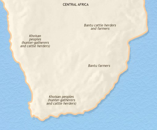 Map of Southern Africa at 1215CE