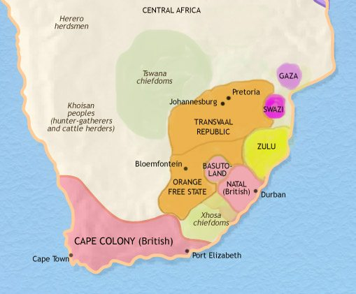 Map of Southern Africa at 1871CE