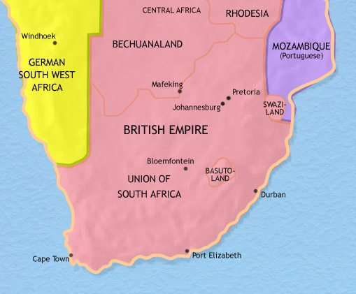 Map of Southern Africa at 1914CE