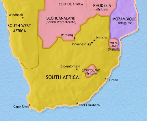 Map of Southern Africa at 1960CE