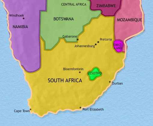 Map of Southern Africa at 2005CE