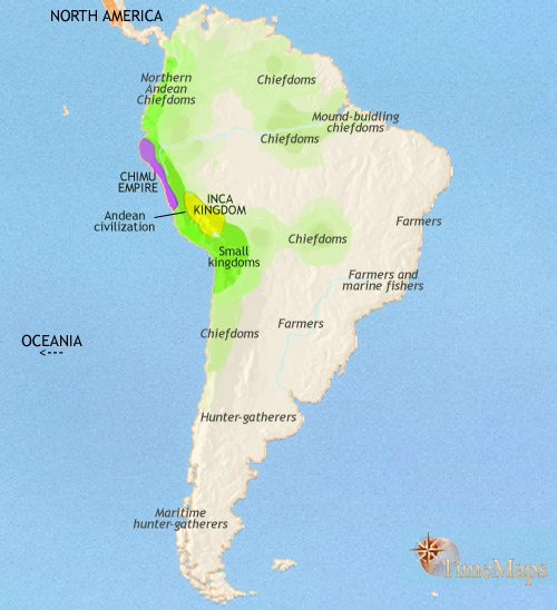 Map of South America at 1453CE