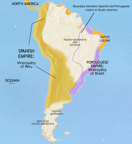 Map of South America at 1648CE