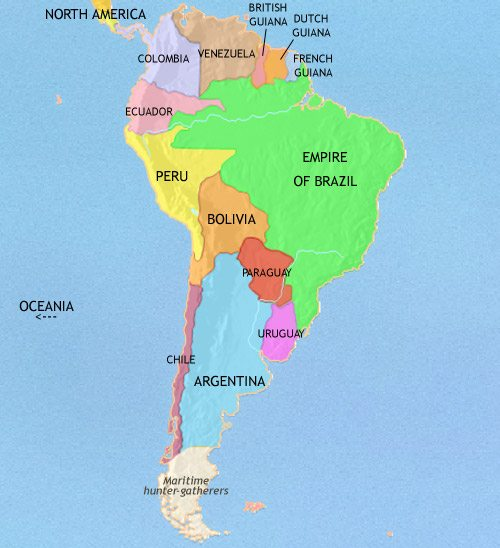 Map of South America at 1837CE