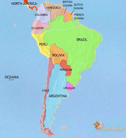 Map of South America at 1914CE