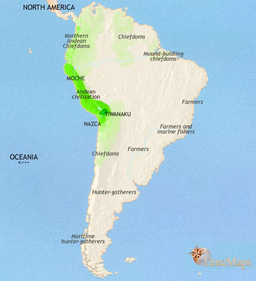 Map of South America at 500CE