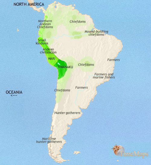 Map of South America at 750CE