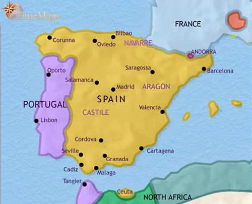 Map Of Spain And Portugal At AD TimeMaps - Portugal map 1500
