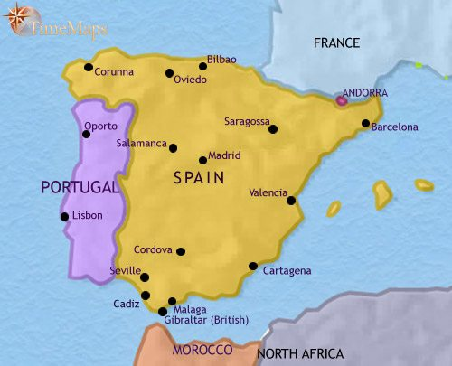 Map of Spain and Portugal at 2005CE