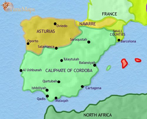 Map of Spain and Portugal at 979CE
