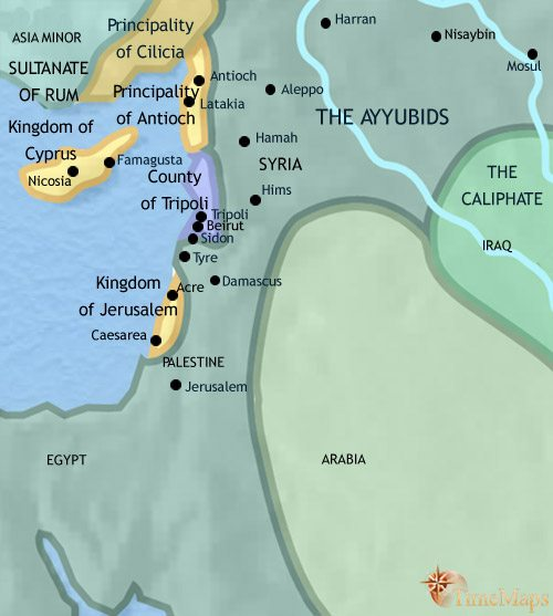 Map of Syria at 1215AD
