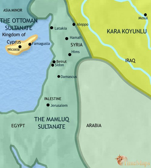 Map of Syria at 1453AD