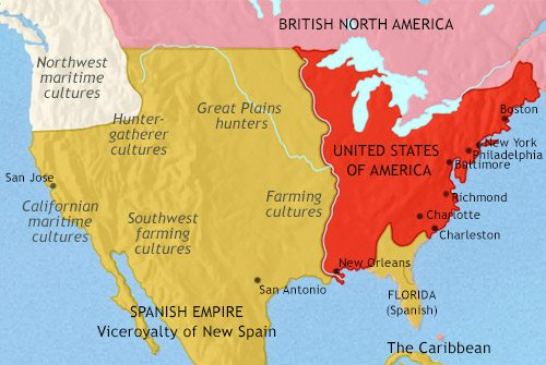 Map of The USA at 1837AD