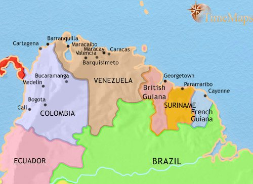 Map of Venezuela, Colombia and the Guianas at 1960CE