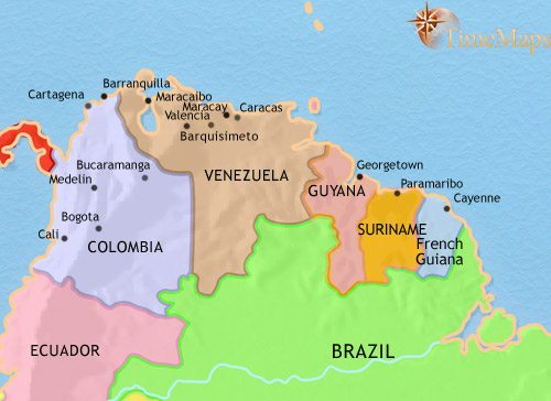 Map of Venezuela, Colombia and the Guianas at 2005CE