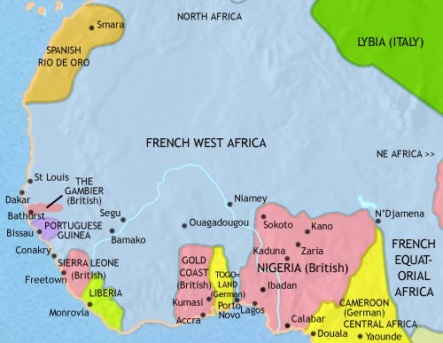 Map of West Africa at 1914CE