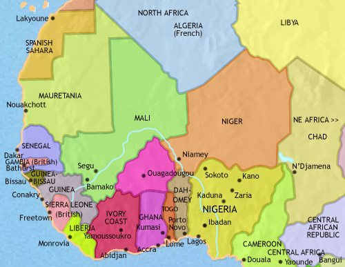 Map of West Africa at 1960CE