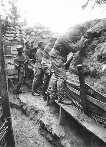 German soldier-fighting-from a trench