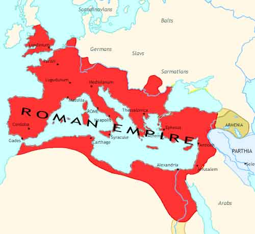 Map of Rise of Rome at 180CE
